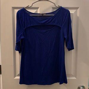 Cutout tight royal blue shirt